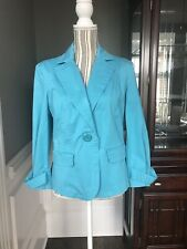 Talbots Women's Turquoise Cotton Casual Stretch Blazer Jacket Size 12