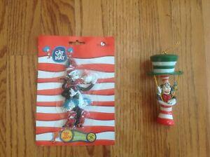 Lot of 2 Dr. Seuss CAT IN THE HAT Christmas Ornaments Henson & Kurt Adler VGC