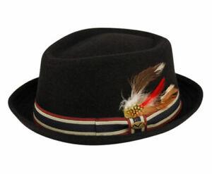 Diamond Shape Wool Fedora Hat w/Feather Stripe Band Classic Pork Pie Stingy Brim