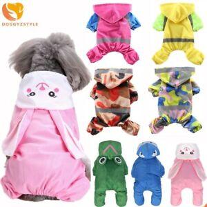 Pet Dog Hoodie Raincoat Jumpsuit Cute Cartoon Jacket Puppy Cat Rain Coat Costume