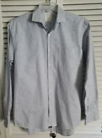 Billy Reed Mens Shirt SZ L Standard Cut Made in Italy Long Sleeve Blue Stripe