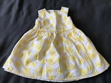 BABY GIRL PARTY DRESS/ OUTFIT/ CLOTHES. White & Yellow Flowers. 9-12 MONTHS