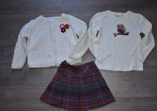 Gymboree Girls Owl 3pc Outfit Set Lot Skirt Cardigan Sweater Shirt Top 5 yrs