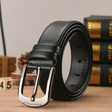 Mens Genuine Real Leather Smooth Girdle Buckle Waistband Waist Band Belt Strap @