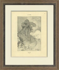 "Rare, Original 1898 ""February"" by Alphonse Mucha for Cocorico, Custom Framing"