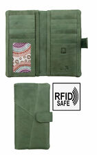 Prime Hide Crumble Soft Sage Green Leather Bifold Wallet Purse RFID Blocking New