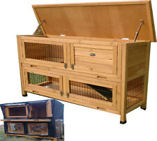 LARGE RABBIT HUTCH GUINEA PIG RUNS 2 TIER DOUBLE DECKER CAGE ROGER XL + COVER