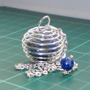 Auction Silver Plated Spiral Cage Dowsing Pendulum with Sodalite Tumblestone