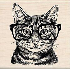Cat With Glasses Nerdy Cat Wood Mounted Rubber Stamp INKADINKADO 60-01220 NEW