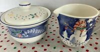 EPOCH - Noritake Porcelain Sugar Bowl And Creamer Christmas Set - Korea