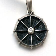 DAVID YURMAN New Mens Dharma Wheel Sterling Silver and Diamond Amulet Enhancer
