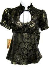 BETSEY JOHNSON Metallic Lame Gold Black Cap Puffy Sleeve Bow Tie Top 10 $250