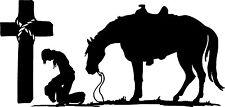 "Cowboy Praying CROSS 38"" Horse decal car truck trailer window Cowgirl kneeling"