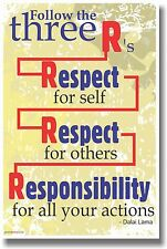 NEW Classroom Motivational POSTER -  Follow the 3 R's - Respect ... - Dalai Lama