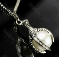 """DRAGON CLAW NECKLACE big pearl PENDANT long 40""""CHAIN vintage brass/silver plated"""