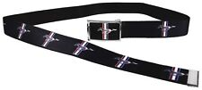 "Clamp Web Men Canvas Military Webbing Ford Mustang Black 1.5"" Chrome Logo GT"