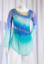 Competition Skating Dress Blue Ombre BSU24420 Size Youth 12-14