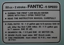 FANTIC TANK TOP 6 SPEED DECAL LAMINATED