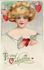 Schmucker~Valentine~Beautiful Pretty Lady with Hearts~Winsch~1910-unused-m832