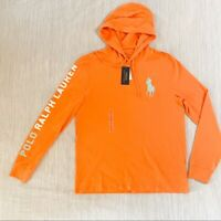 Polo Ralph Lauren Men's SZ XL Orange with Mint Big Pony Polo Hooded L/S T-Shirt