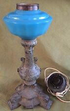 Oil Lamp Blue Opaline Glass Font with Cast Metal / Spelter Base 1870s