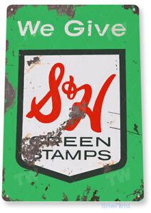 TIN SIGN S & H Green Stamps Metal Décor Art Kitchen Store Shop A601