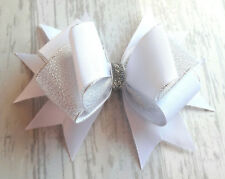 "WHITE HANDMADE LARGE 5.5"" HAIR RIBBON BOW GIRL KIDS CHILDREN  ALLIGATOR CLIP"