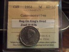 CANADA FIVE 5 CENTS 1951, BUG KING'S HEAD, ICCS AU-55 !!!!!
