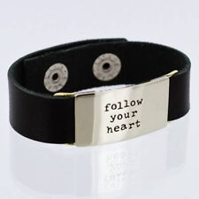 Leather Bracelet Quote Bracelet FOLLOW YOUR HEART Black Leather Bracelet Stamped