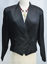 Christian DIOR TUXEDO Blazer BLOUSE SILK double breasted light top M 8 VTG NEW