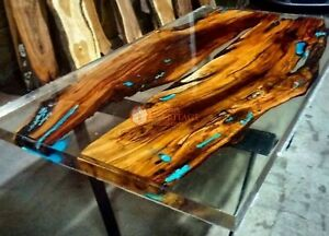 Epoxy Resin Clear River Acacia Wooden Conference Table Handmade Furniture Tops