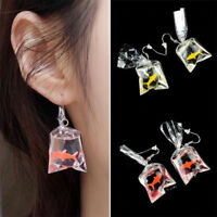 1Pair New Unique Trendy Fish Earrings Plastic Bag Dangle Hook