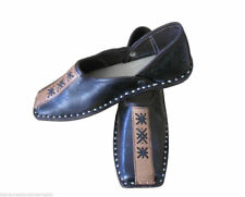 Men Shoes Leather Mojari Indian Black Loafers & Slip Ons New Flat Jutties US 8