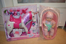 zapf baby born & my first annabell doll & car seat,horse toys bundle accessories