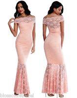Goddiva Blush Lace Bardot Maxi Evening Fishtail Party Dress Prom Bridesmaid