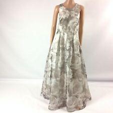Eliza J F5 Womens Long Dress Floral Pleated Sleeveless Gray Ballgown Size 10 New