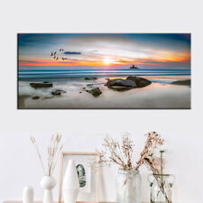 Large Sunset Seascape Decor Painting Beach Scenery Canvas Print Poster 20x44inch