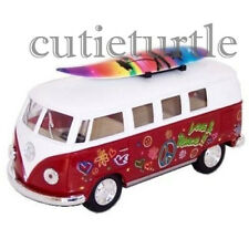 Kinsmart 1962 VW Volkswagen Classic Bus 1:32 Peace Love with Surfboard Red
