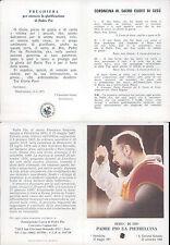 """PADRE PIO, R@RISSIMO SANTINO CON RELIQUIA """"PEZZO DI STOFFA"""" n.6"""