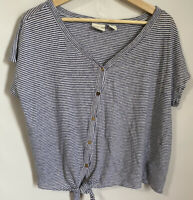 Rachel Zoe 100% Linen Women's XL Button  Front Tie Navy White Striped Shirt