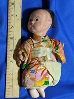 "Antique-VTG Stamped Japan Porcelain Baby Girl Doll Silk Kimono 8"" Jointed"