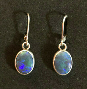 "Sterling Silver Earrings Natural Opal Blue Green 10x12mm 1.1"" 2.8g 925 #1208"