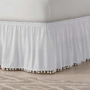 Easy Fit Bed Skirt King Size Tassels Easy-Stretch Machine-Washable Cotton White