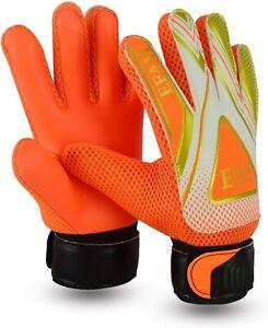 EFAH Football Goalkeeper Gloves Kids Goalie Glove Junior Children Boys Orange