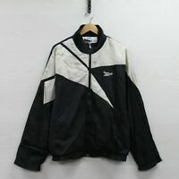 Vintage Reebok Windbreaker Light Jacket Size Large Black White 90s