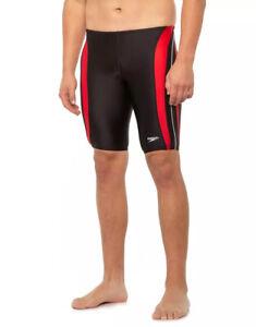 Mens Size 32 Black/Red Speedo Revolve Splice Jammer Swimsuit (For Men)