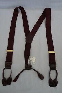Mens Braces Suspenders Oxblood Maroon w embossed leather tabs Made in England