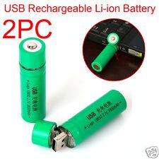 2PCS 18650 3.7V 3800mAh USB Rechargeable Li-ion Battery For Flashlight Torch