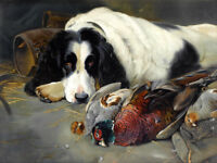 Hunting dog and pheasant Oil painting HD Printed on canvas L1703