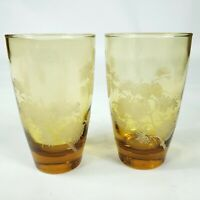 Libby Set of 2 Amber Embossed Acorn Flat Tumblers Embossed Frosted Raised